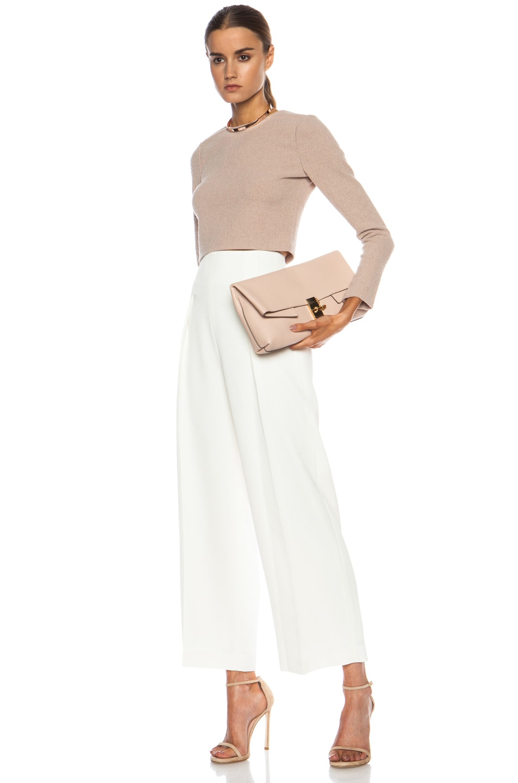 Chloe Leather Drew Clutch in Cement Pink | FWRD