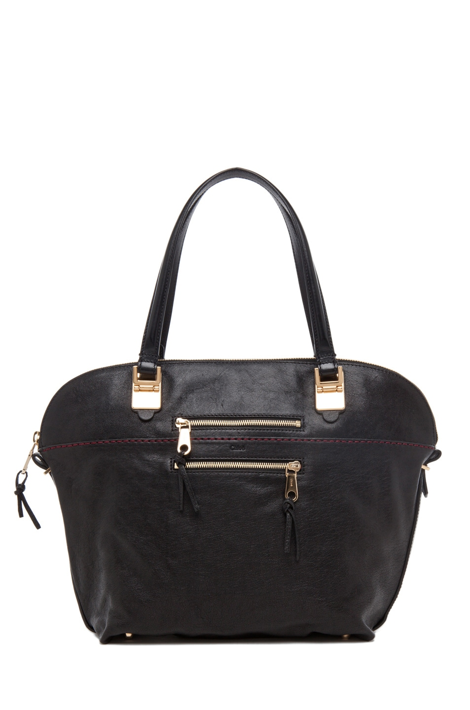 Image 1 of Chloe Large Angie Shoulder Bag in Black