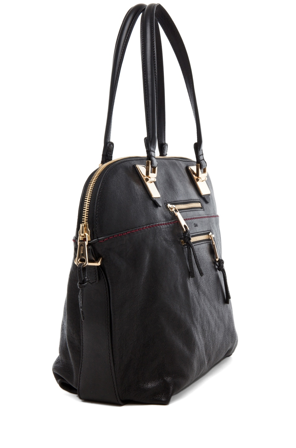 Image 3 of Chloe Large Angie Shoulder Bag in Black