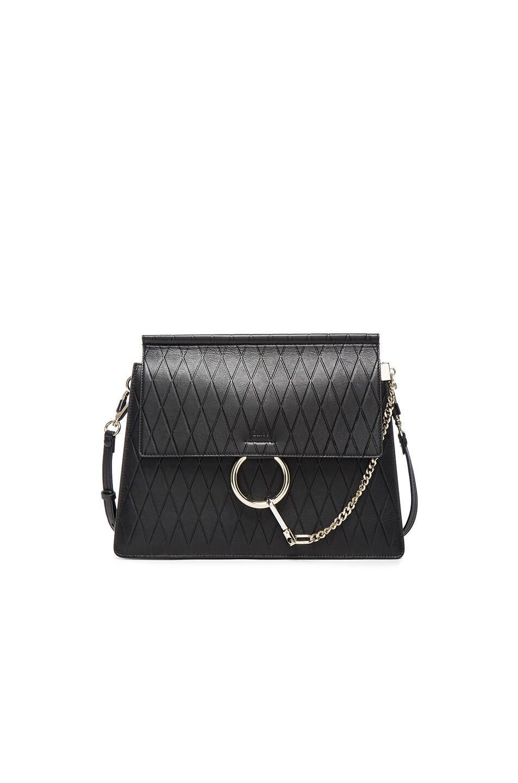 Chloe Medium Diamond Embossed Faye Bag in Black | FWRD