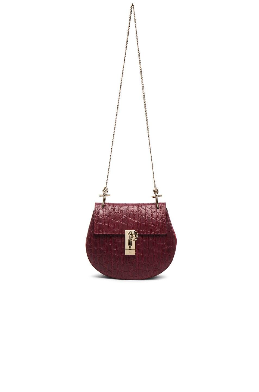 Chloe Small Croc Embossed Drew Bag in Sienna Red | FWRD