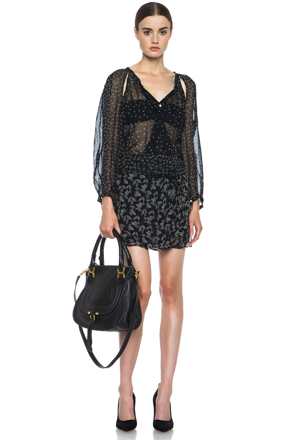 Image 5 of Chloe Large Marcie Shoulder Bag in Black