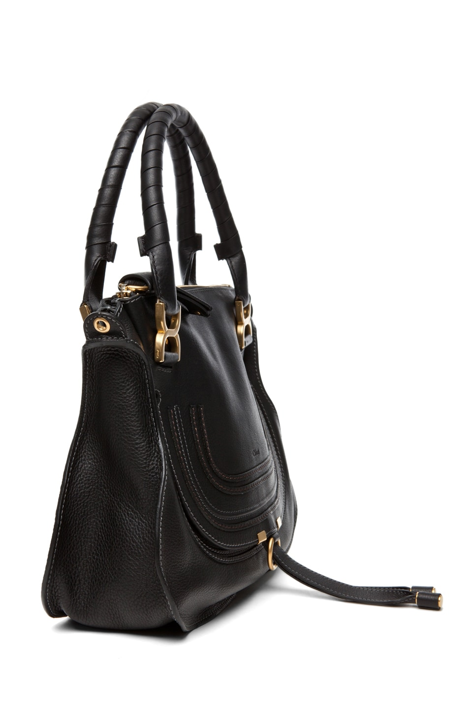 Image 3 of Chloe Marcie Satchel Small in Black