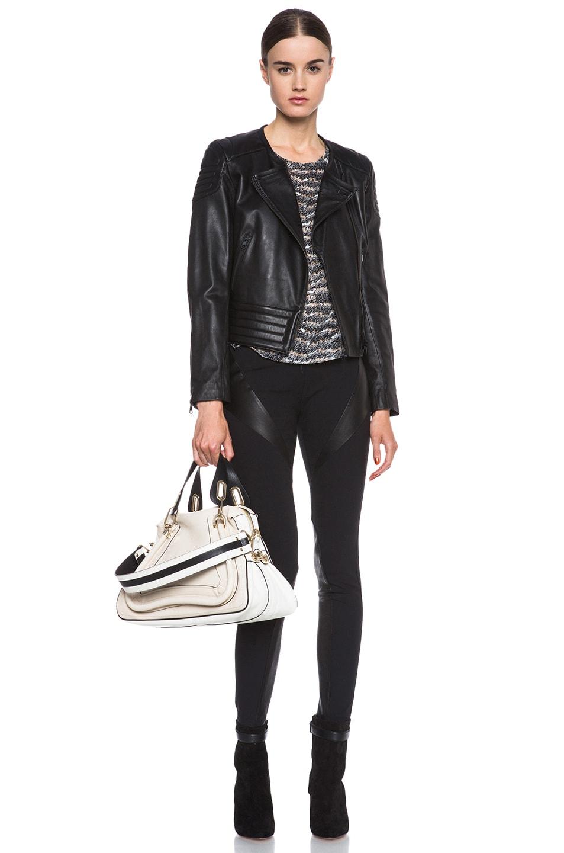 Chloe Medium Paraty Military Shoulder Bag in Black \u0026amp; White | FWRD