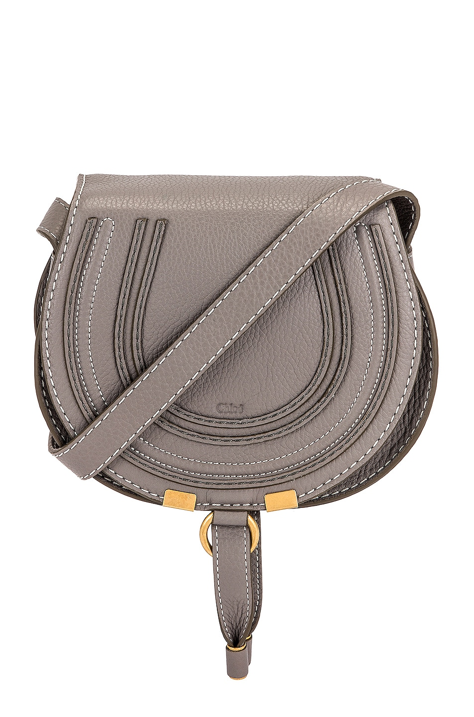 Chloe Small Marcie Saddle Bag in Cashmere Grey | FWRD