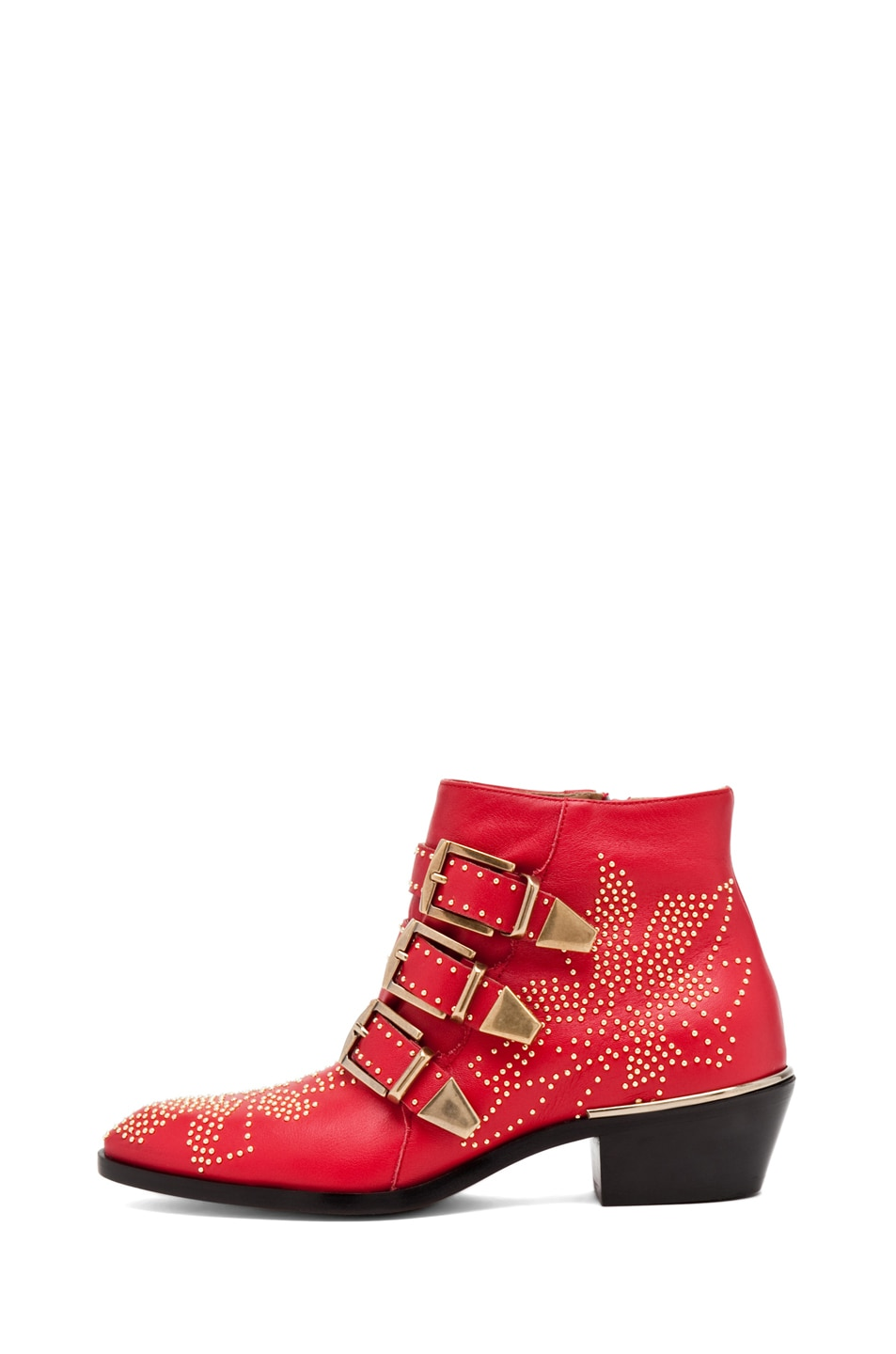 Image 1 of Chloe Susanna Leather Studded Booties in Red