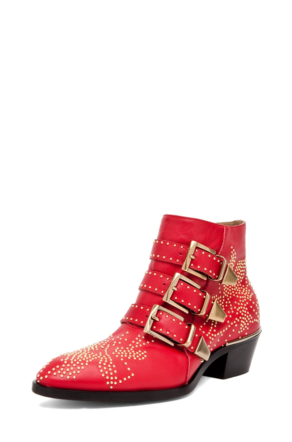 Image 2 of Chloe Susanna Leather Studded Booties in Red