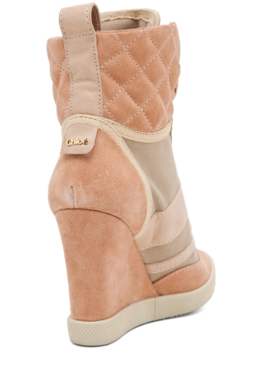 Image 3 of Chloe Wedge Sneaker in Camel
