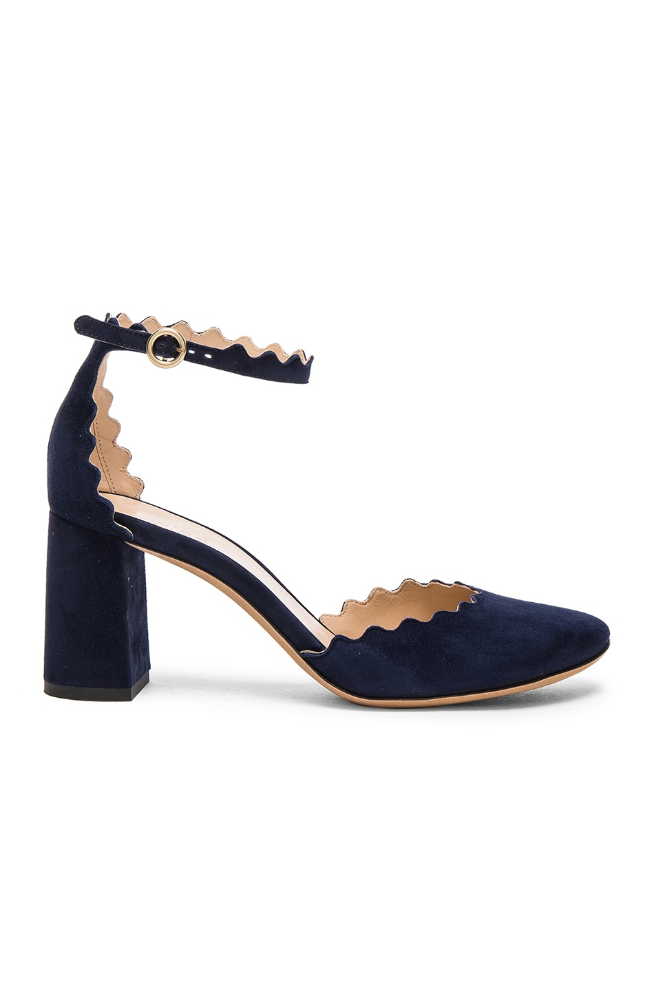 Image 1 of Chloe Suede Lauren Ballerina Pumps in Blue Lagoon