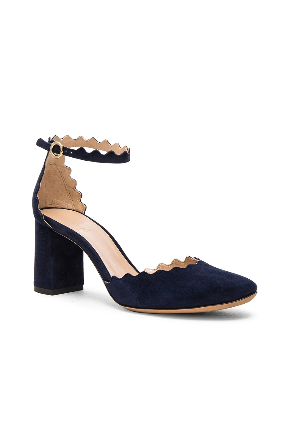 Image 2 of Chloe Suede Lauren Ballerina Pumps in Blue Lagoon