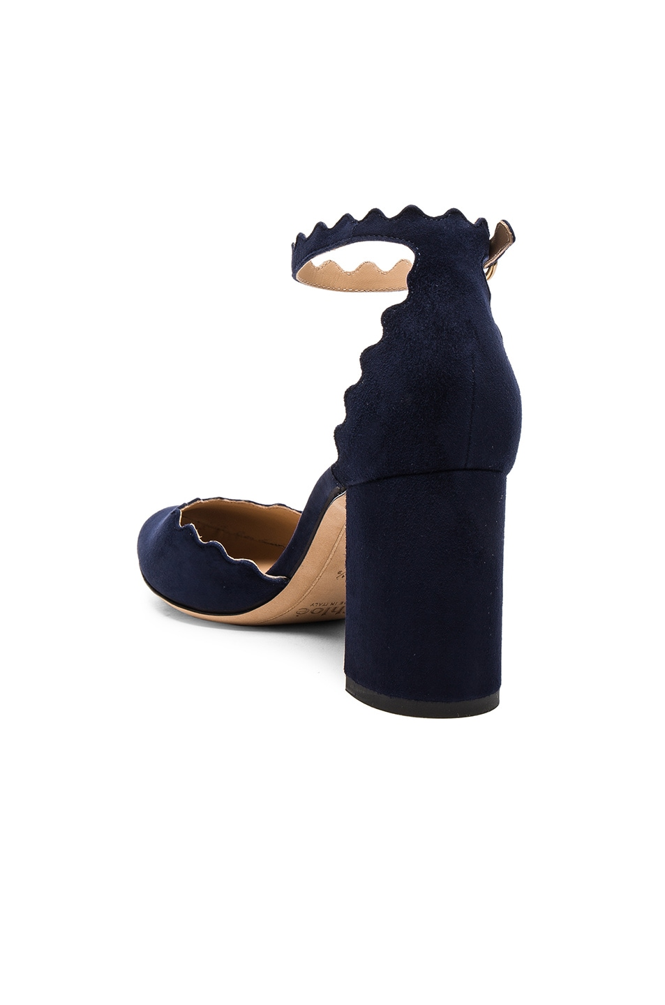 Image 3 of Chloe Suede Lauren Ballerina Pumps in Blue Lagoon