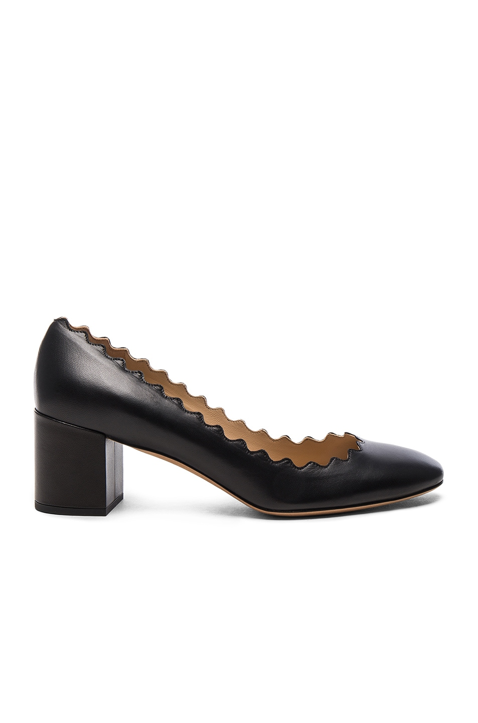 Image 1 of Chloe Lauren Leather Scallop Pumps in Black