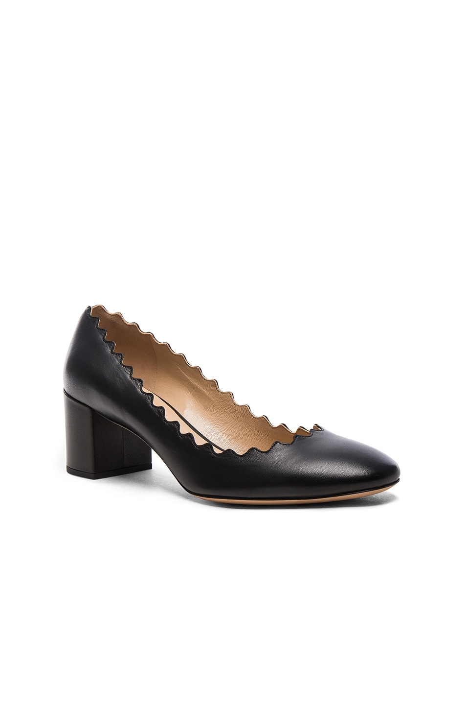 Image 2 of Chloe Lauren Leather Scallop Pumps in Black