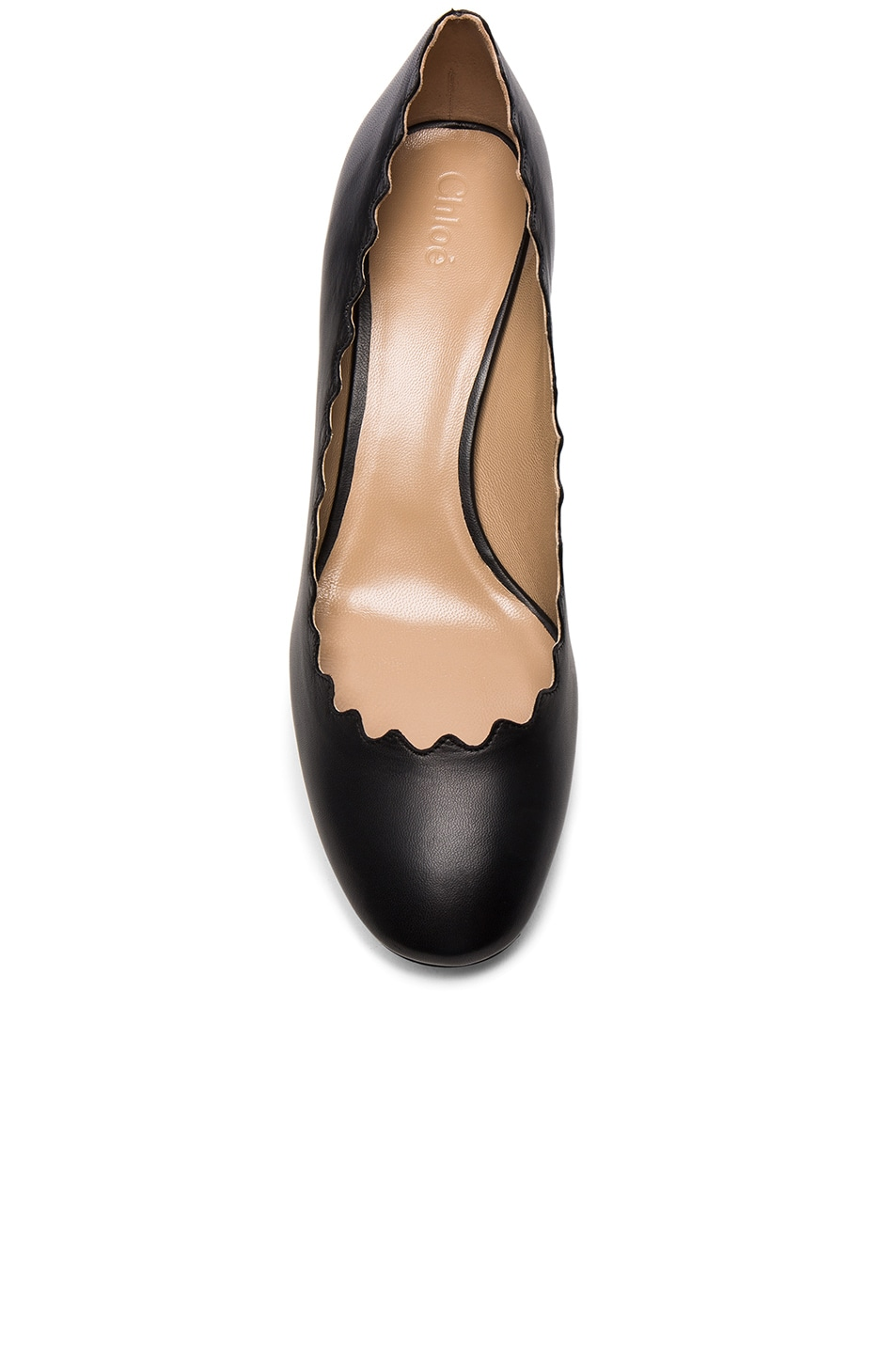 Image 4 of Chloe Lauren Leather Scallop Pumps in Black