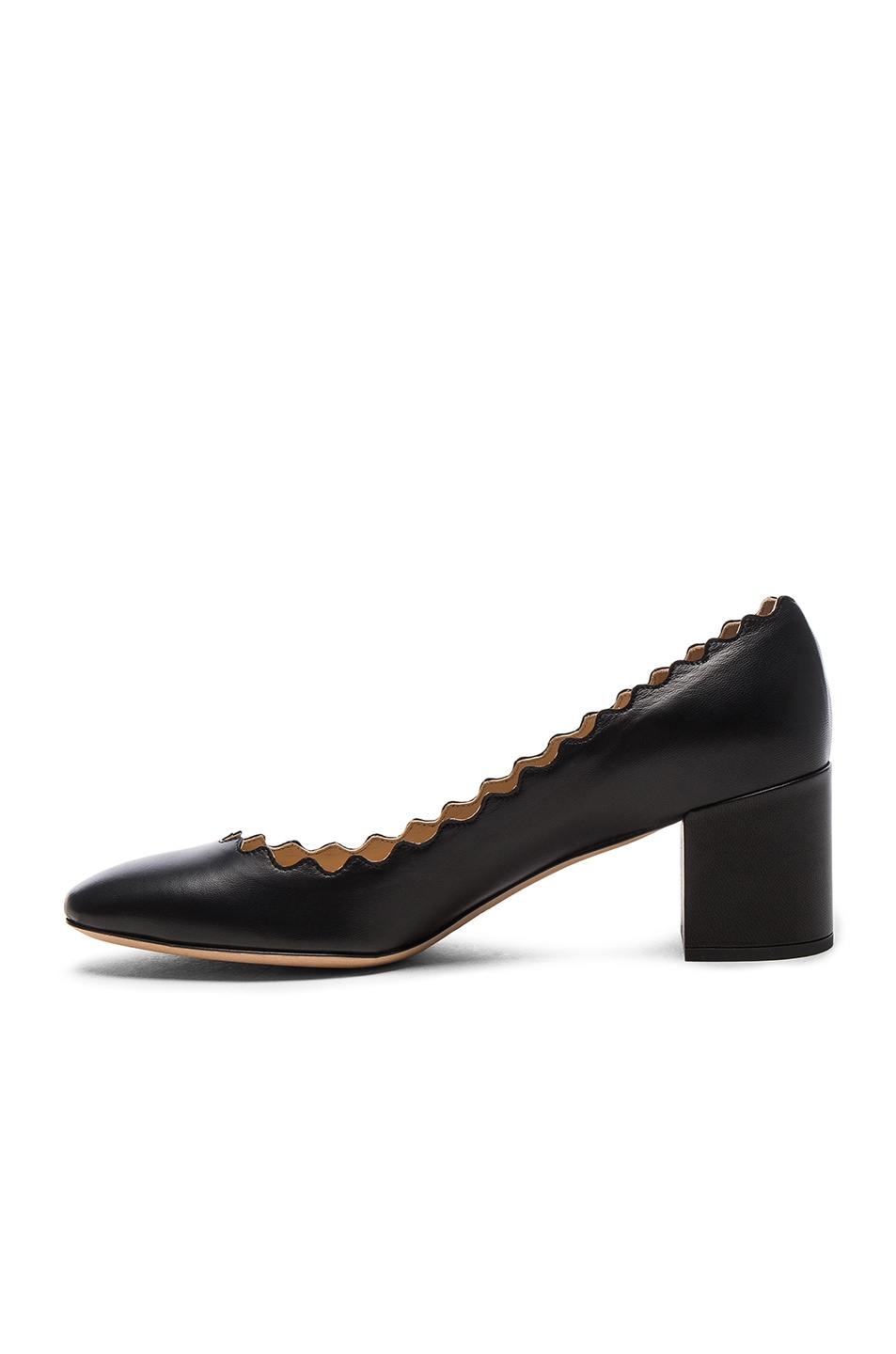 Image 5 of Chloe Lauren Leather Scallop Pumps in Black