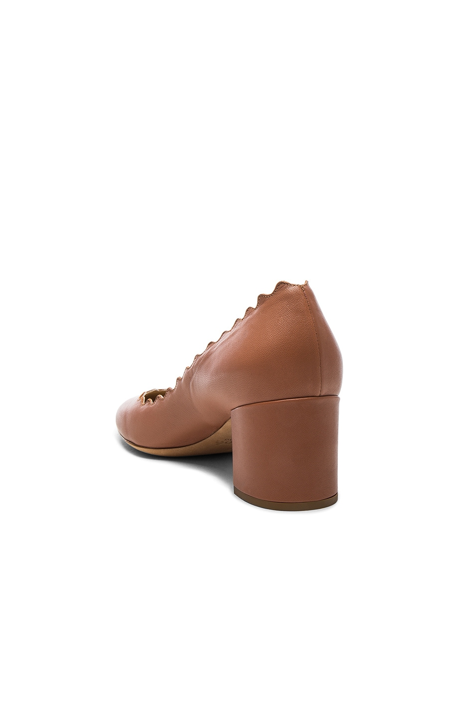 Image 3 of Chloe Lauren Leather Scallop Pumps in Blush Pink