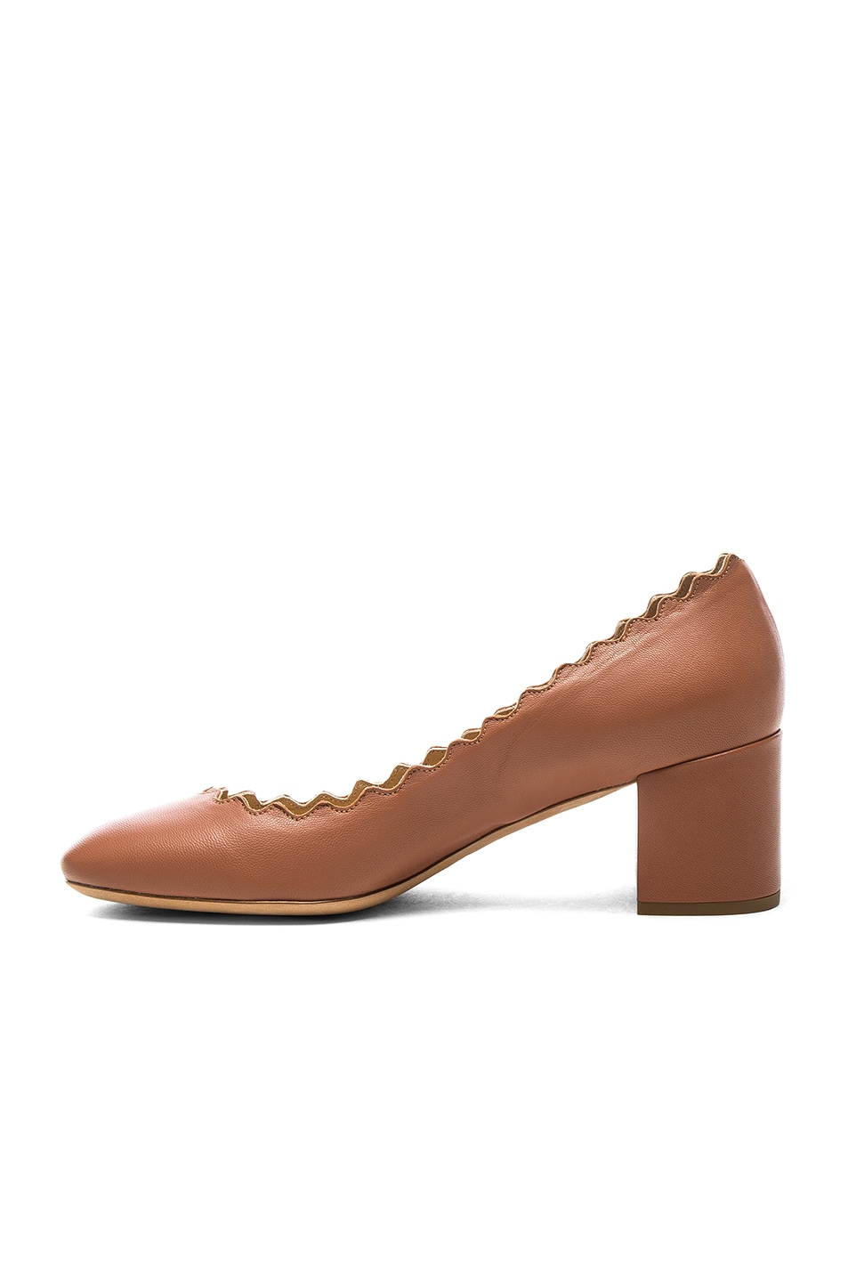 Image 5 of Chloe Lauren Leather Scallop Pumps in Blush Pink
