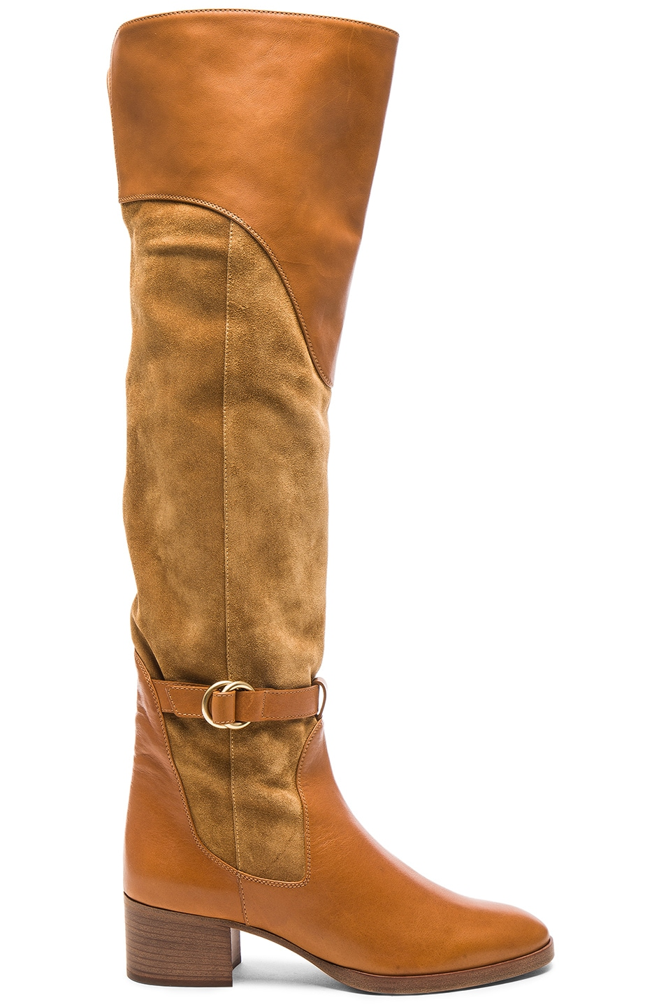 Image 1 of Chloe Suede Lenny Over the Knee Boots in Dune