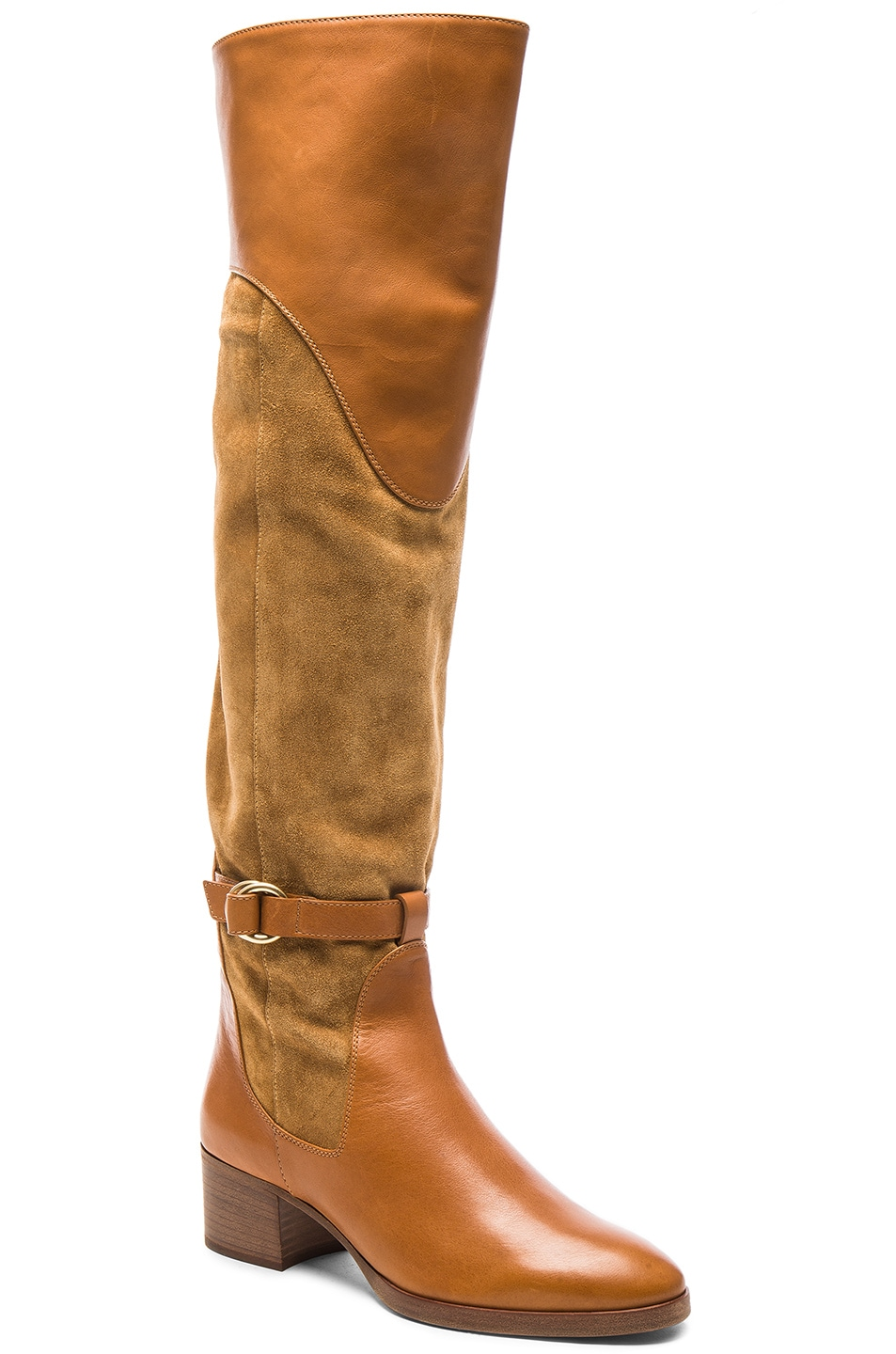 chlo 201 leather suede the knee boots dune