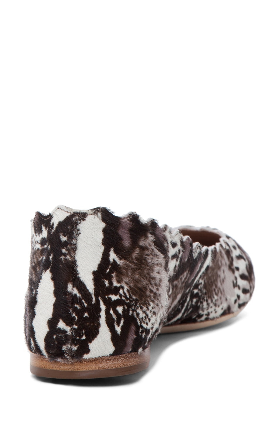 Image 3 of Chloe Printed Pony Scallop Flats in Grey & Black