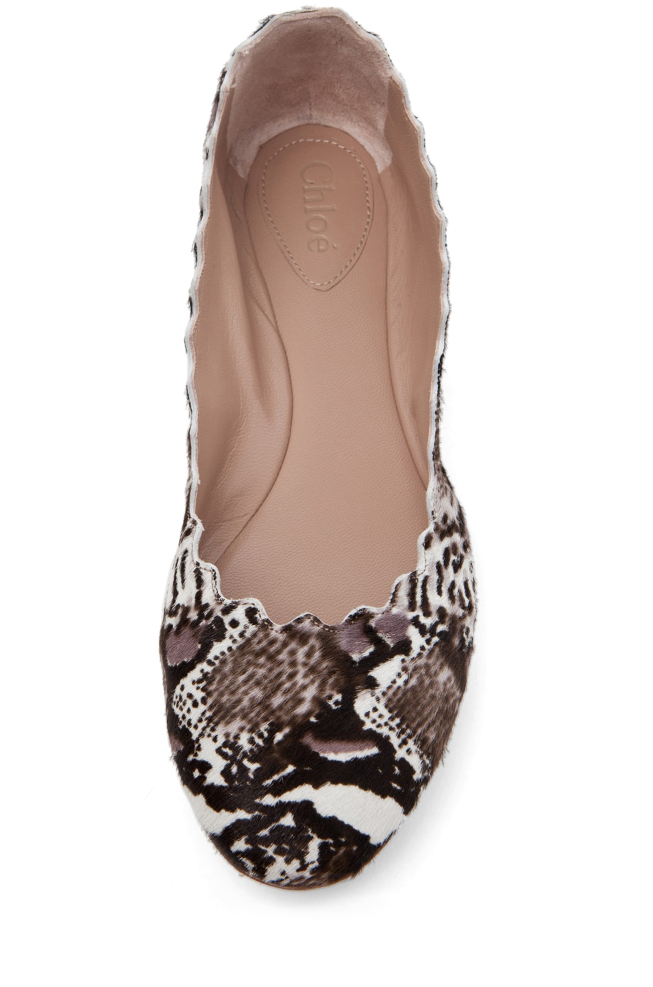 Image 4 of Chloe Printed Pony Scallop Flats in Grey & Black
