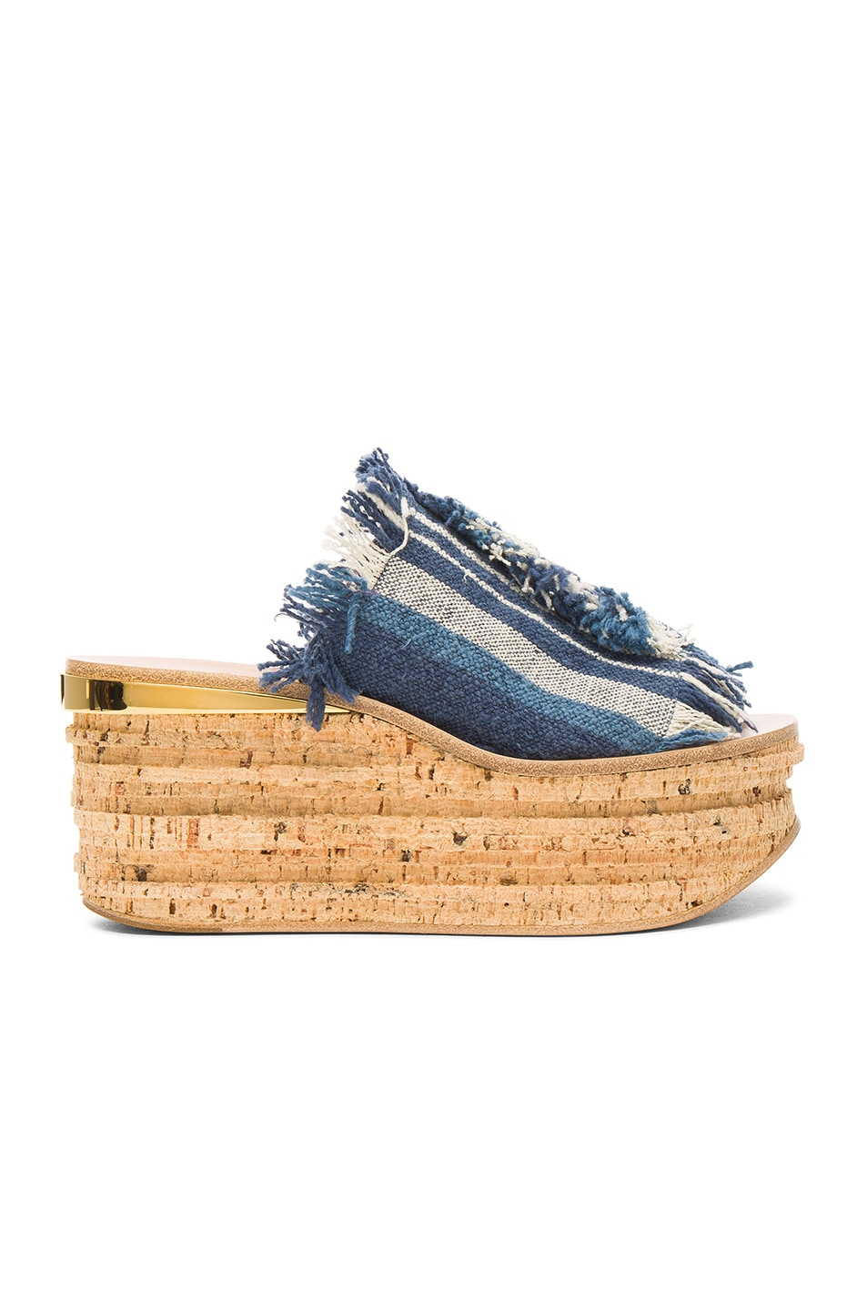 Chloé Canvases STRIPY CANVAS CAMILLE WEDGES IN BLUE, STRIPES.