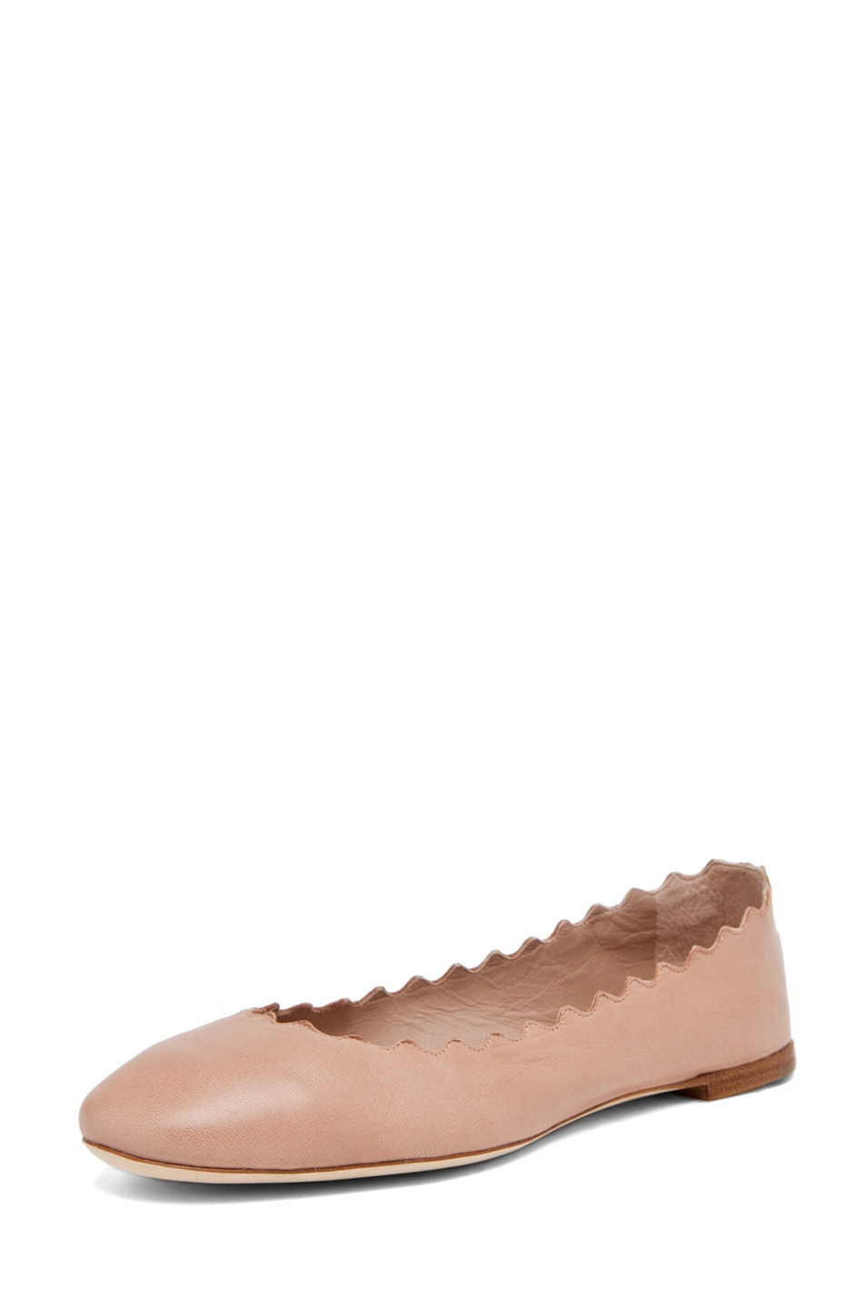 Image 2 of Chloe Leather Scalloped Flats in Nude