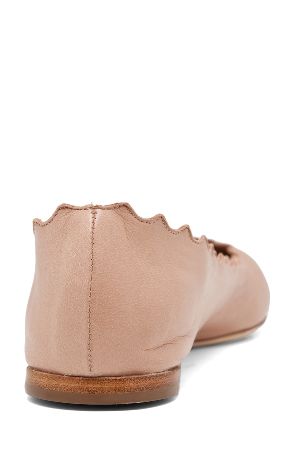 Image 3 of Chloe Leather Scalloped Flats in Nude