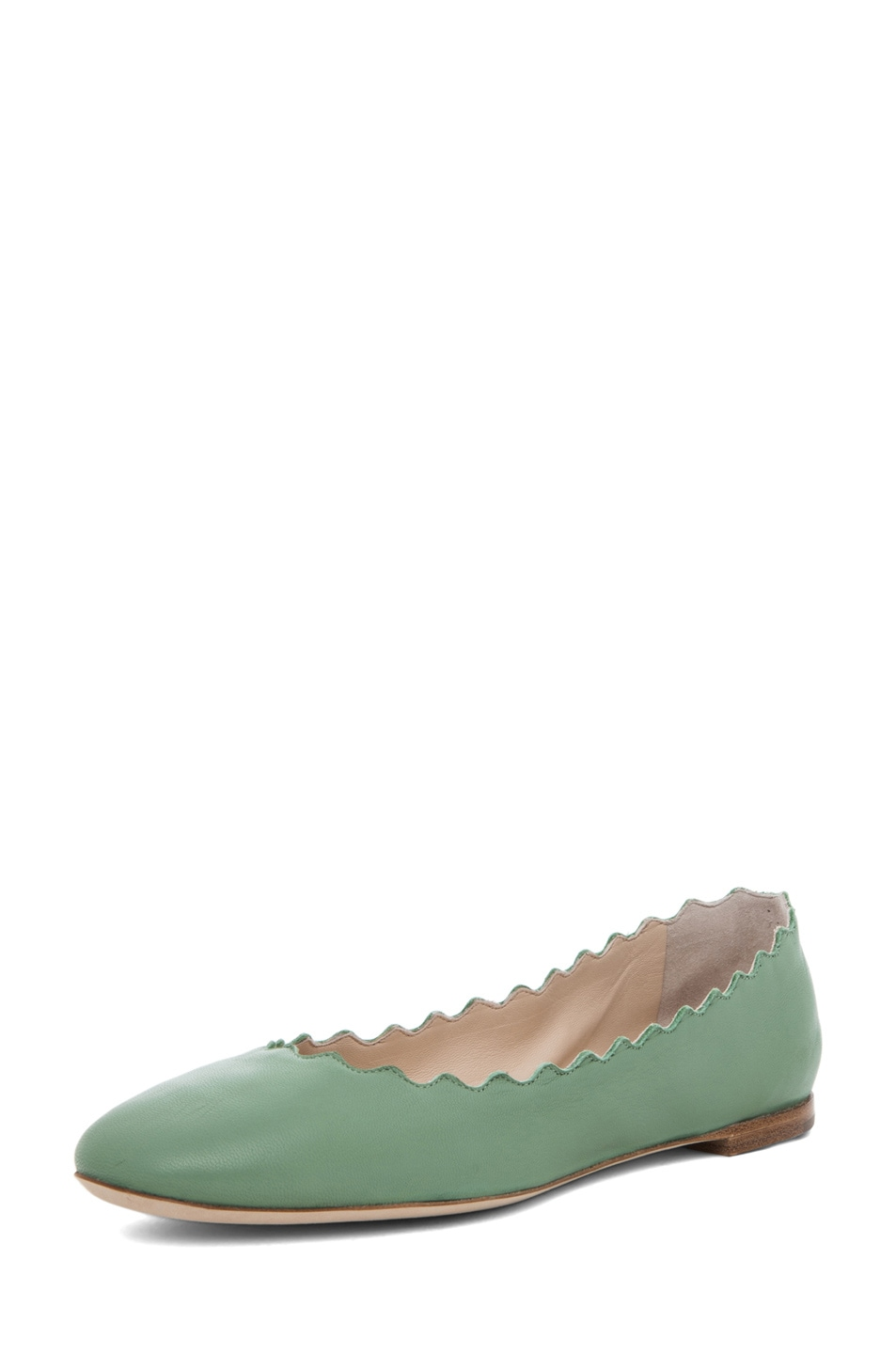 Image 2 of Chloe Lauren Scalloped Flat in Mint