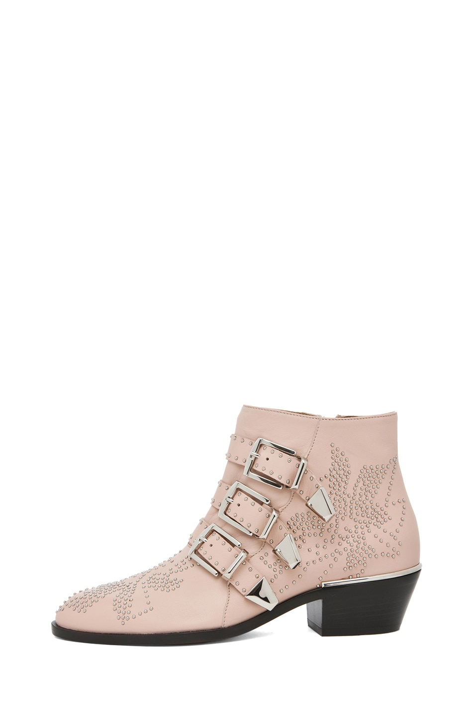 Image 1 of Chloe Susanna Leather Studded Bootie in Nude Pink