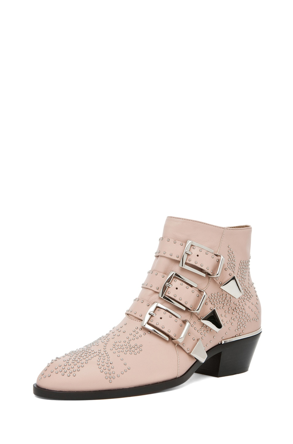 Image 2 of Chloe Susanna Leather Studded Bootie in Nude Pink