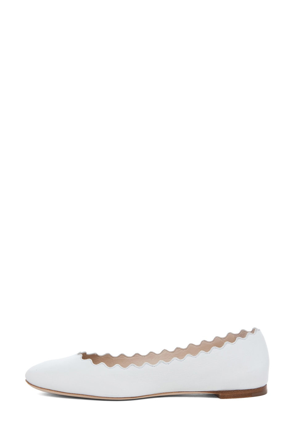 Image 1 of Chloe Leather Scallop Ballerina Flat in White