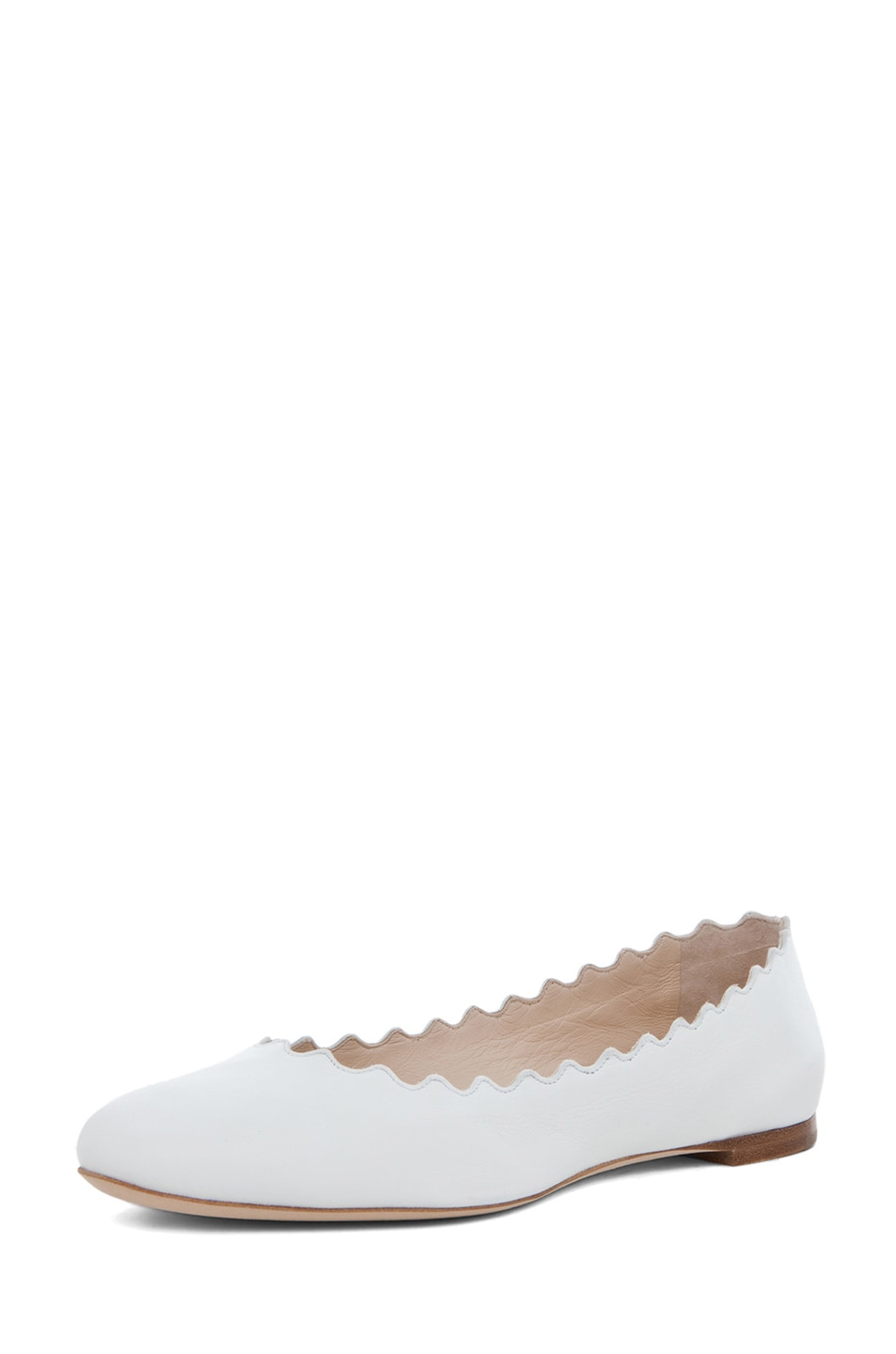 Image 2 of Chloe Leather Scallop Ballerina Flat in White