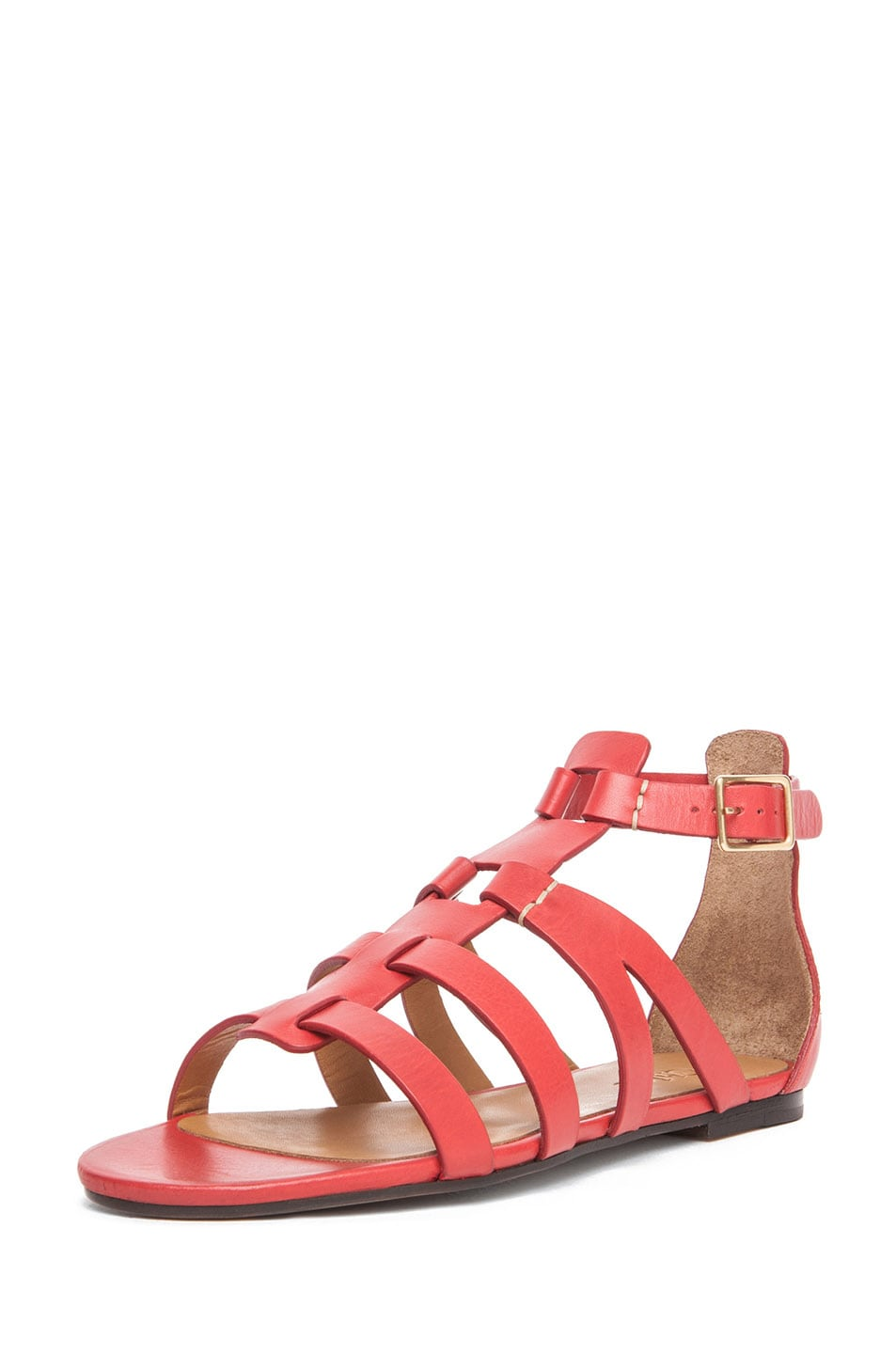 Image 2 of Chloe Leather Gladiator Sandals in Red