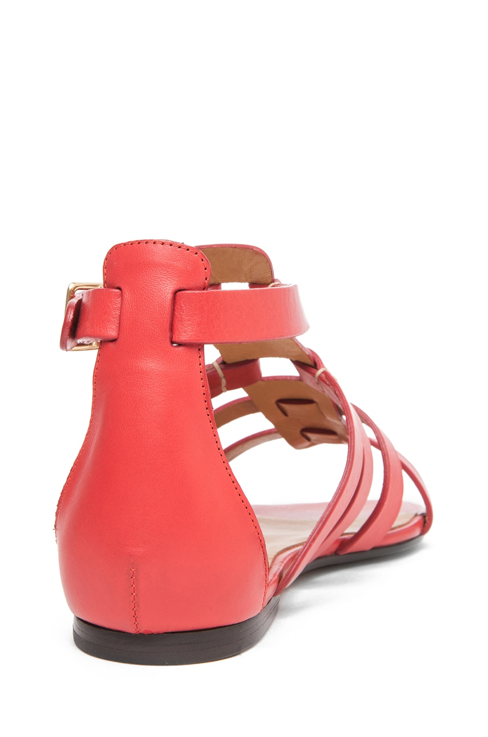 Image 3 of Chloe Leather Gladiator Sandals in Red