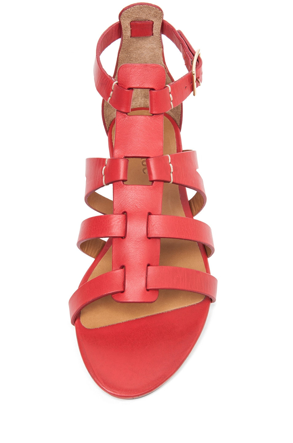 Image 4 of Chloe Leather Gladiator Sandals in Red