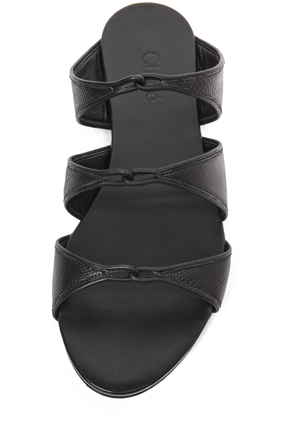 Image 4 of Chloe Karung Leather Slip On Sandals in Nero