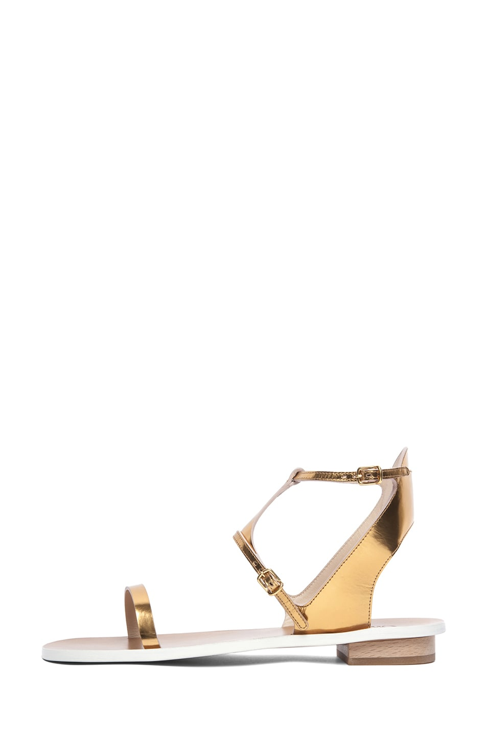 Image 1 of Chloe Metallic Leather Runway Sandals in Gold