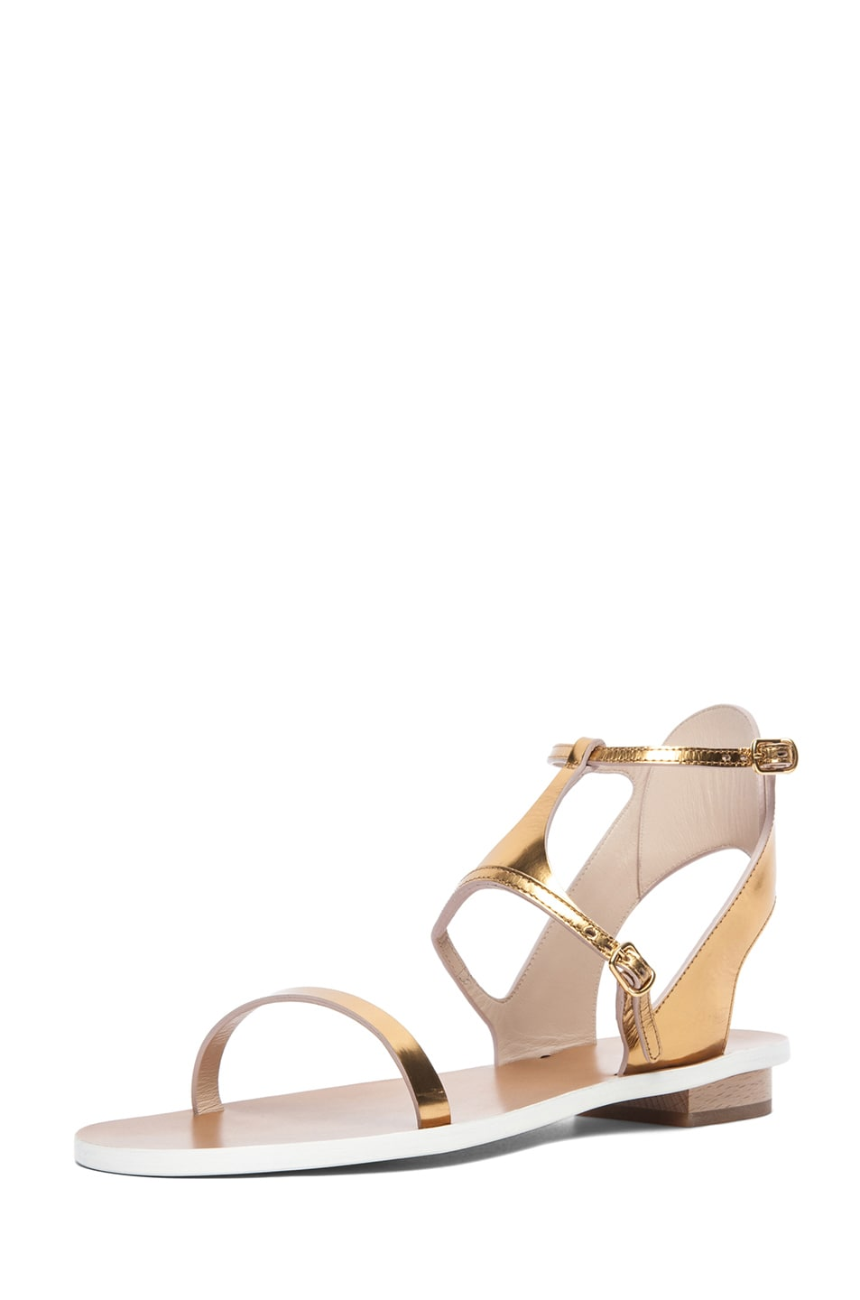 Image 2 of Chloe Metallic Leather Runway Sandals in Gold