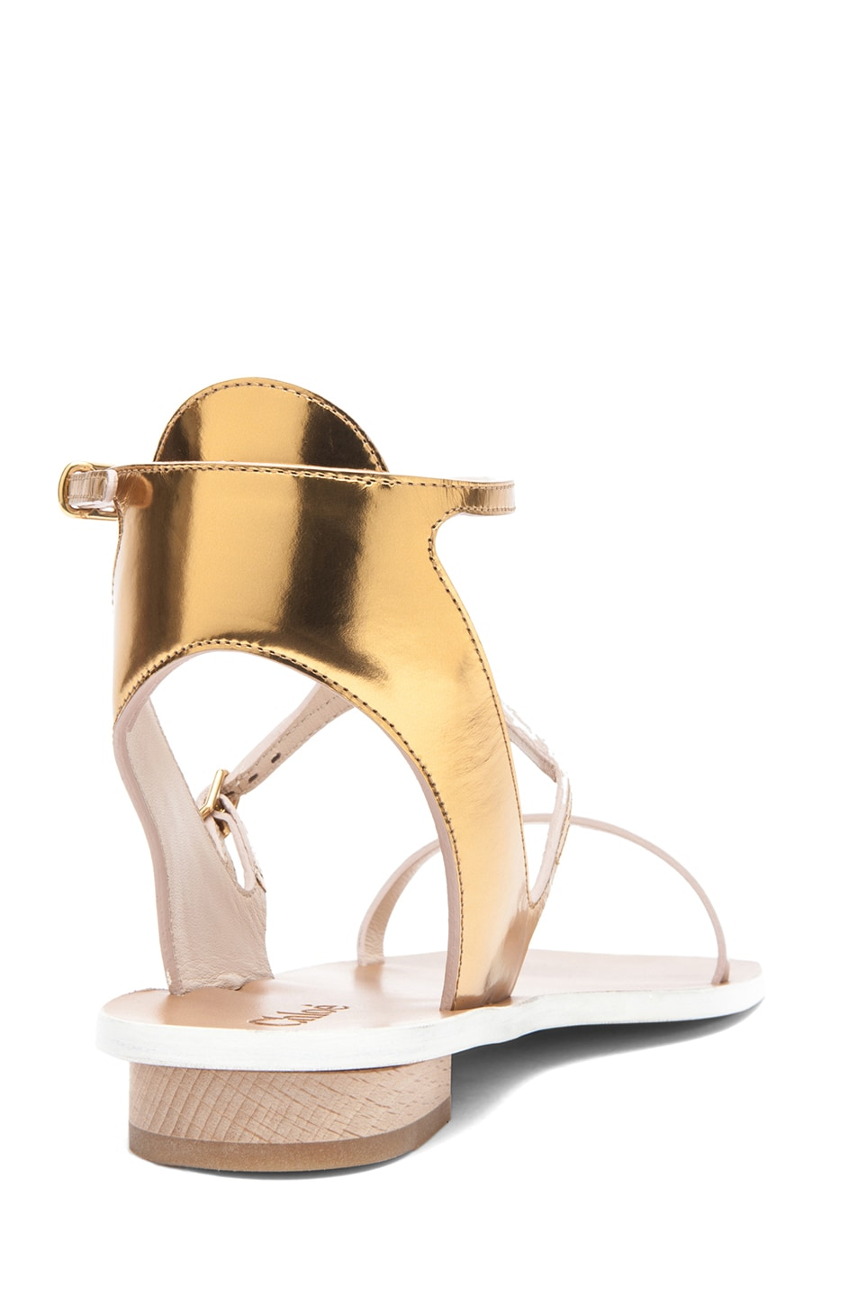 Image 3 of Chloe Metallic Leather Runway Sandals in Gold