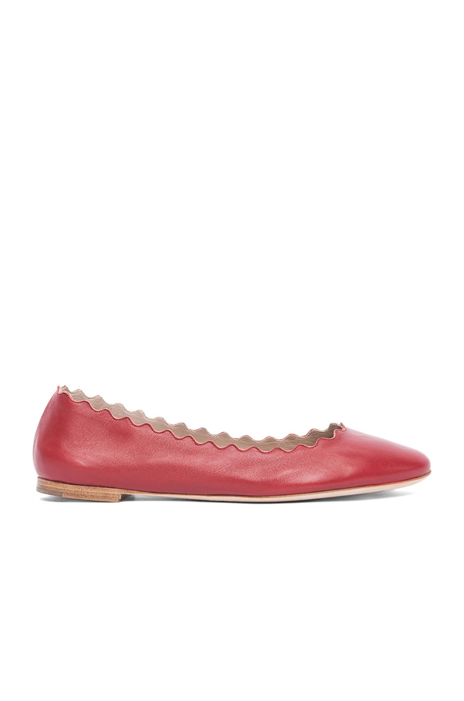 Image 1 of Chloe Leather Scalloped Flats in Royal Red