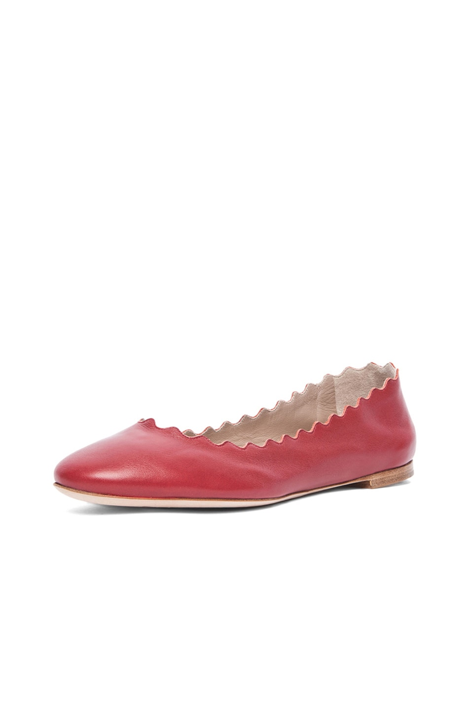 Image 2 of Chloe Leather Scalloped Flats in Royal Red