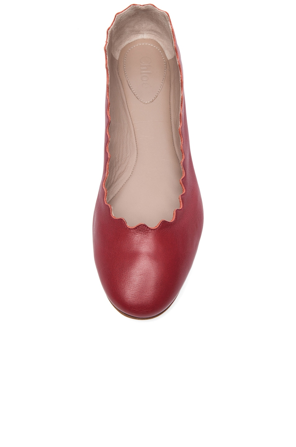 Image 4 of Chloe Leather Scalloped Flats in Royal Red