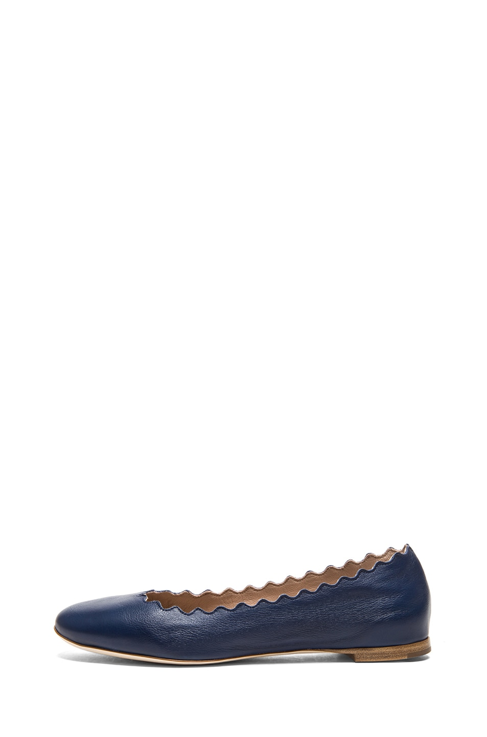 Image 1 of Chloe Lambskin Leather Scalloped Flats in Royal Navy