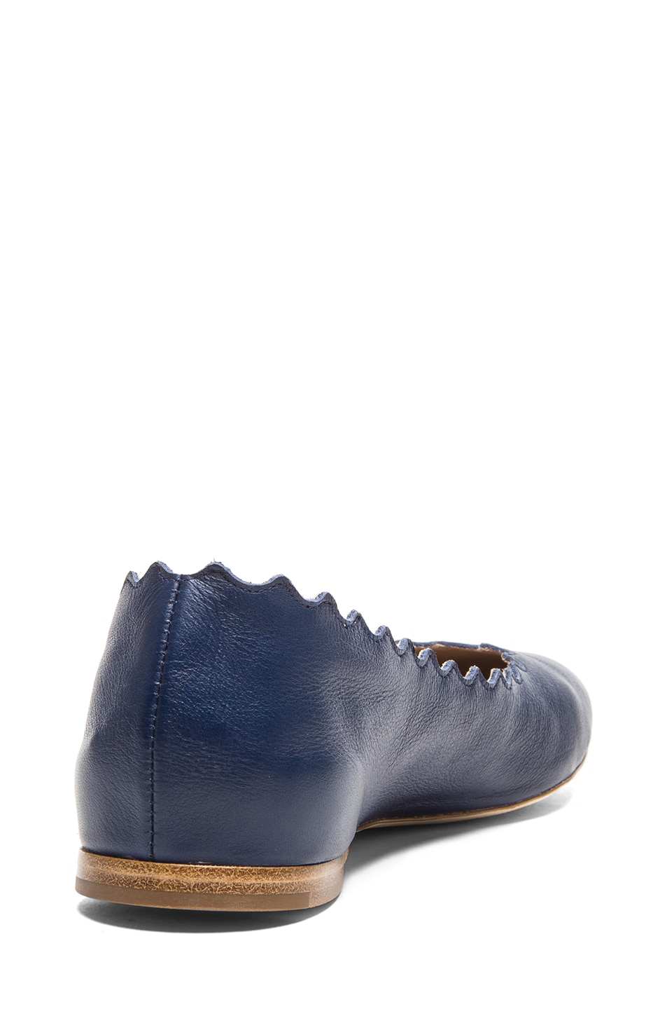 Image 3 of Chloe Lambskin Leather Scalloped Flats in Royal Navy