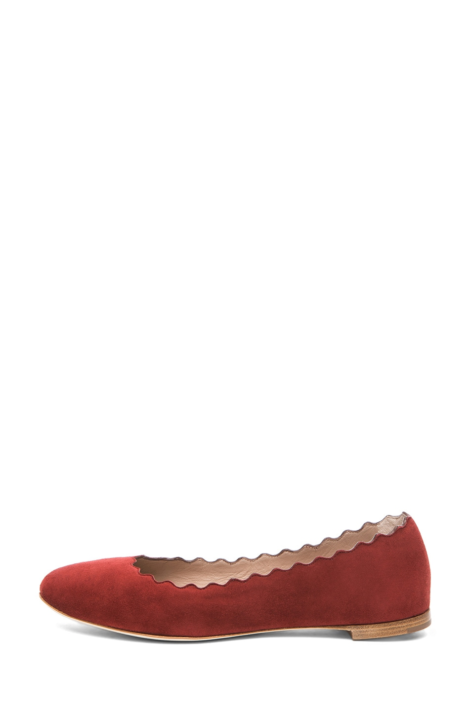 Image 1 of Chloe Suede Scalloped Flats in Red Moroccan Ochre