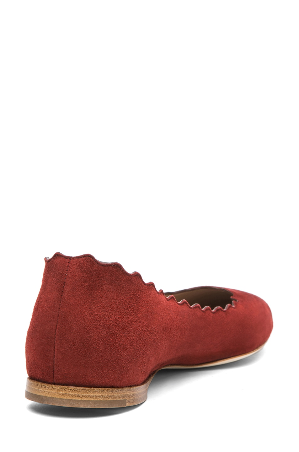 Image 3 of Chloe Suede Scalloped Flats in Red Moroccan Ochre