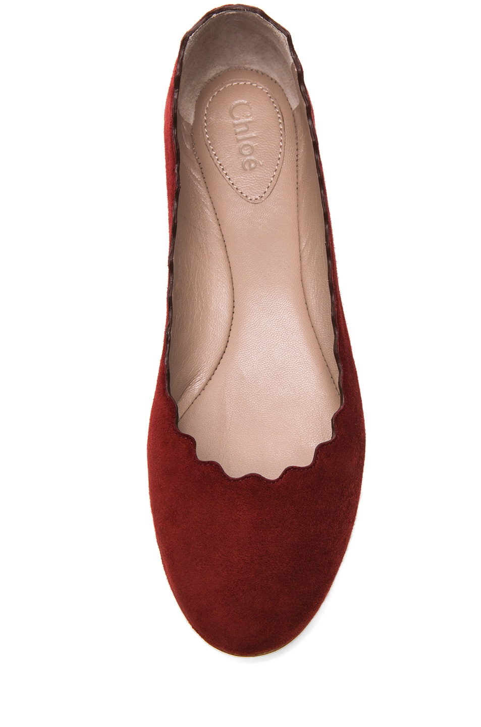 Image 4 of Chloe Suede Scalloped Flats in Red Moroccan Ochre