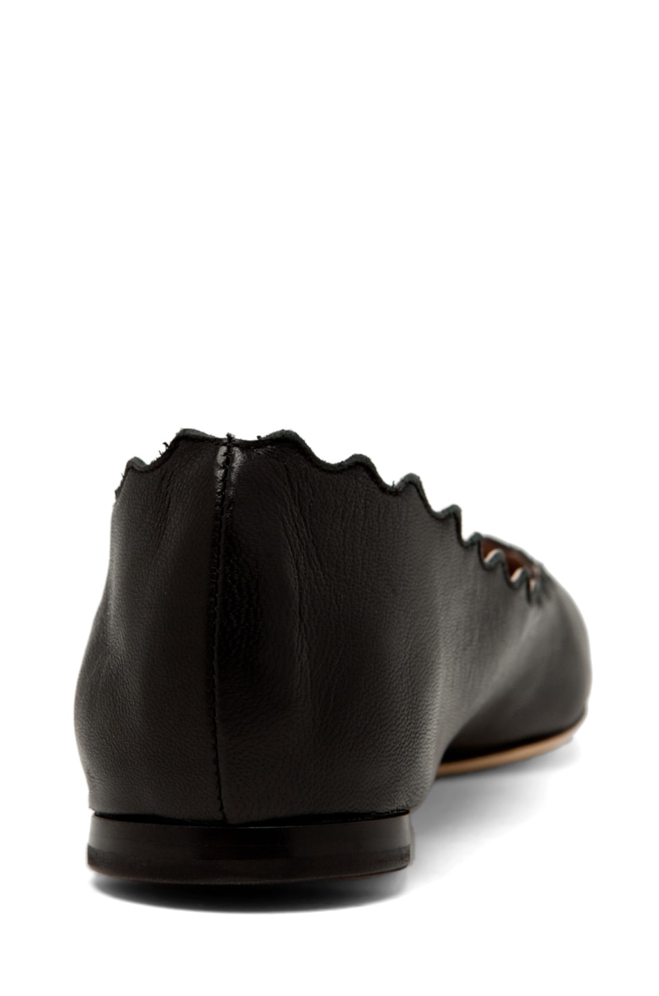 Image 3 of Chloe Lambskin Leather Scalloped Flats in Black