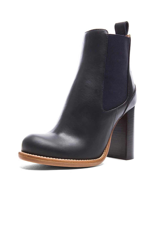 Image 2 of Chloe Leather Booties in Black & Navy Blue
